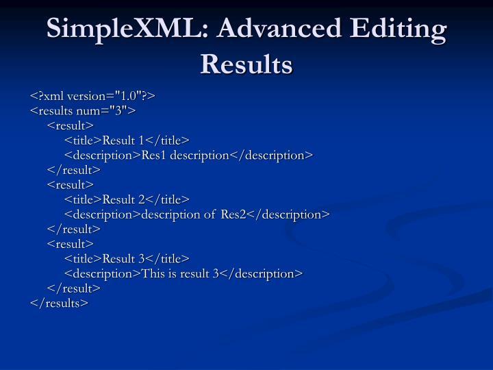 SimpleXML: Advanced Editing Results