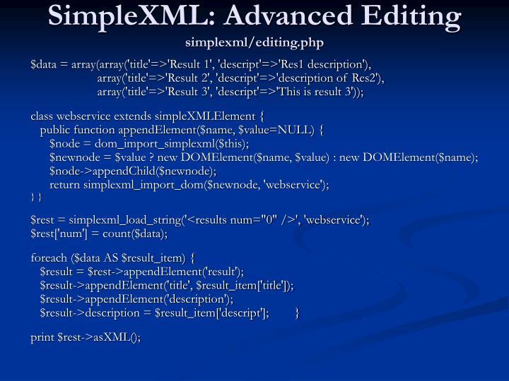 SimpleXML: Advanced Editing
