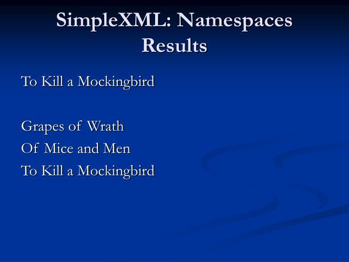 SimpleXML: Namespaces Results