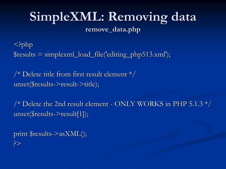 SimpleXML: Removing data