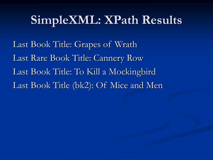 SimpleXML: XPath Results