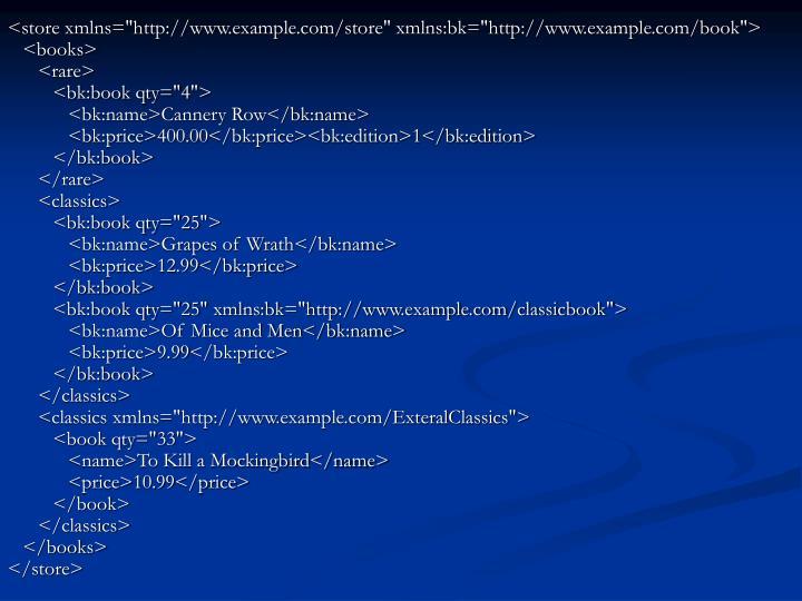 "<store xmlns=""http://www.example.com/store"" xmlns:bk=""http://www.example.com/book"">"
