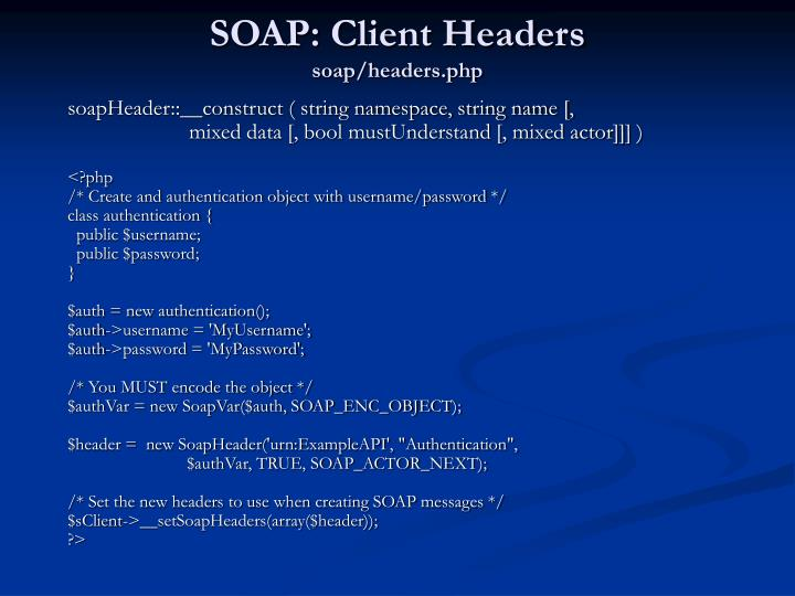 SOAP: Client Headers