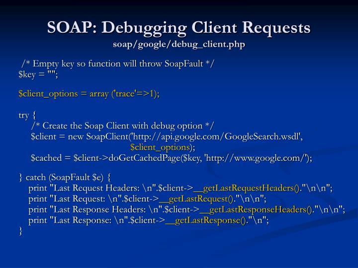 SOAP: Debugging Client Requests