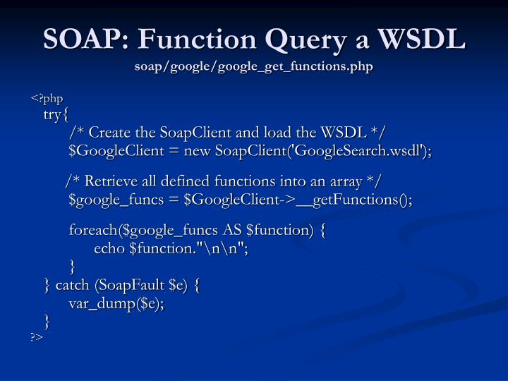 SOAP: Function Query a WSDL