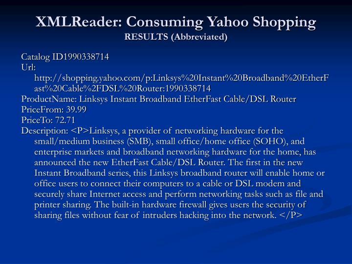 XMLReader: Consuming Yahoo Shopping