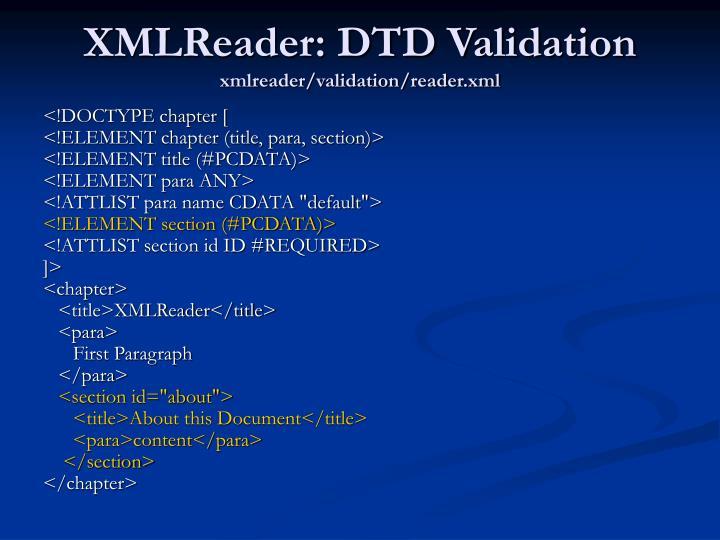 XMLReader: DTD Validation
