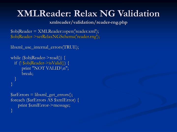 XMLReader: Relax NG Validation