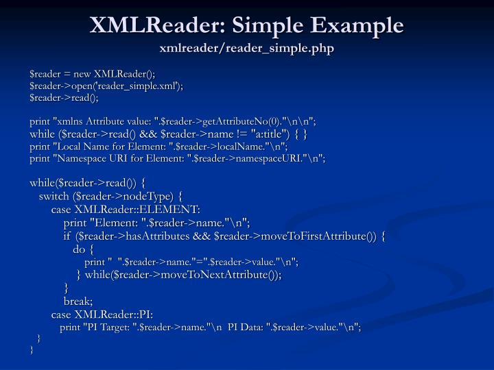 XMLReader: Simple Example