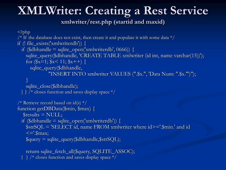 XMLWriter: Creating a Rest Service