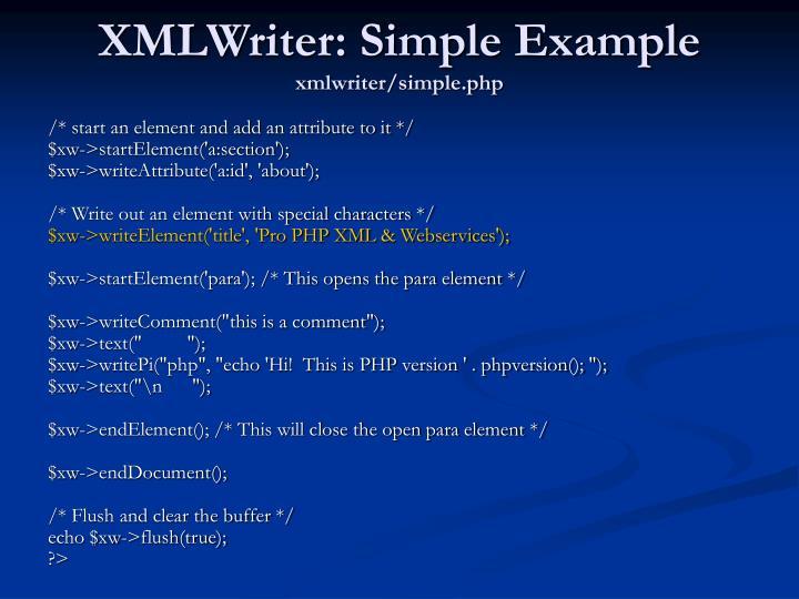 XMLWriter: Simple Example
