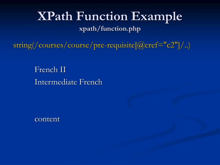 XPath Function Example