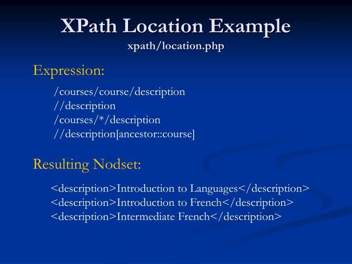 XPath Location Example