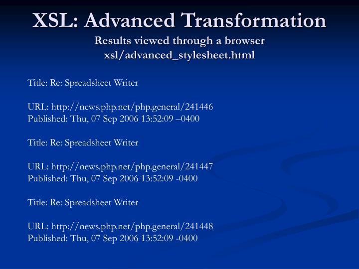 XSL: Advanced Transformation