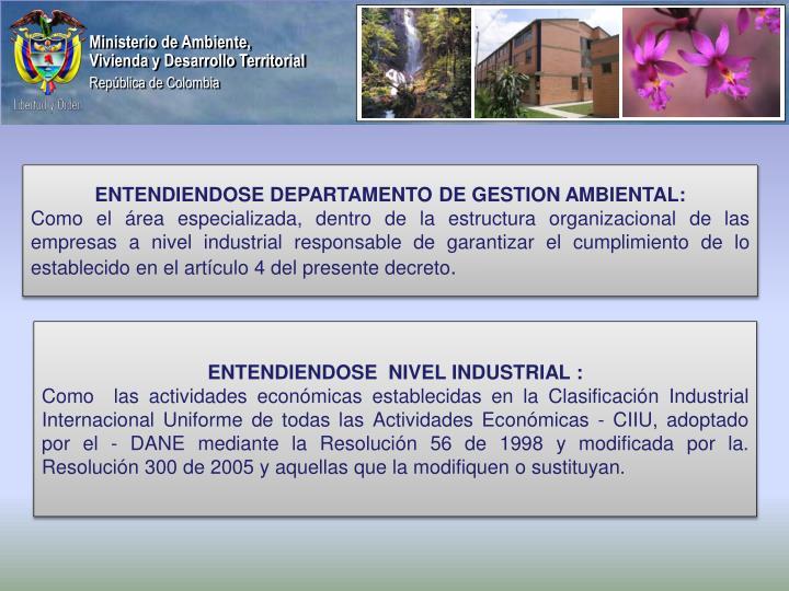 ENTENDIENDOSE DEPARTAMENTO DE GESTION AMBIENTAL: