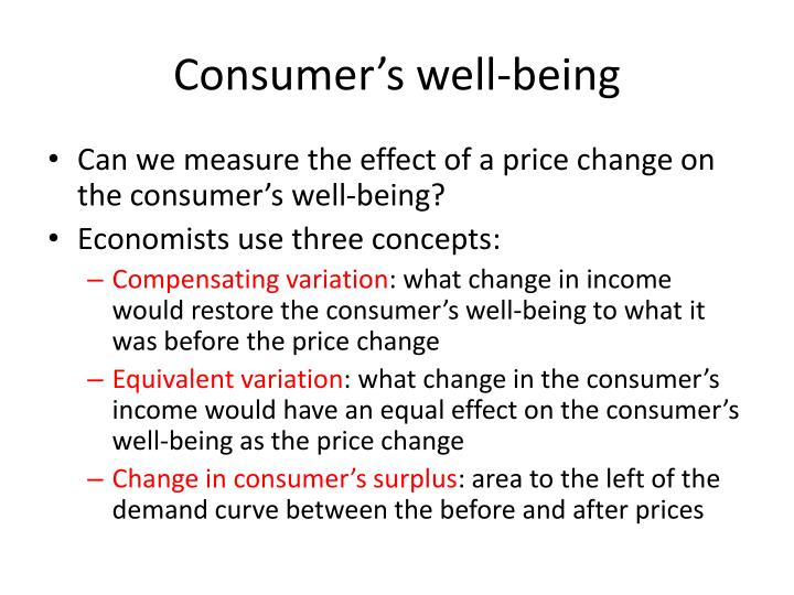 Consumer s well being