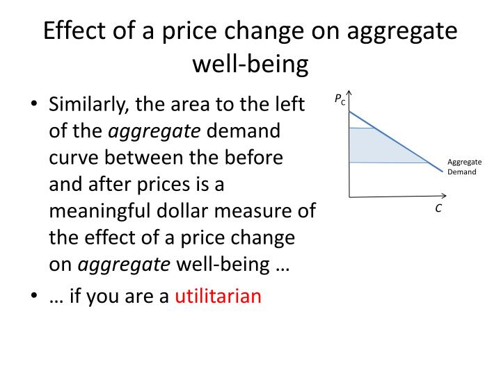 Effect of a price change on aggregate well-being