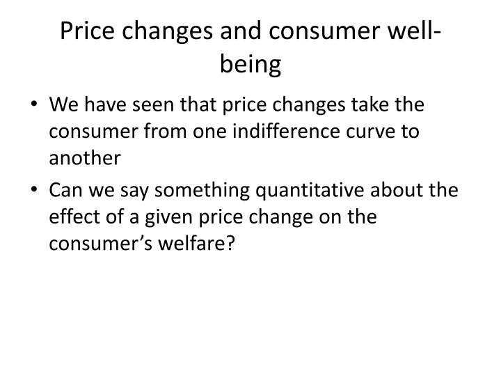 Price changes and consumer well being