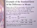 example of the standard error of the difference in means