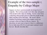example of the two sample t empathy by college major