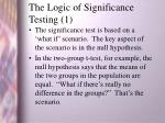 the logic of significance testing 1