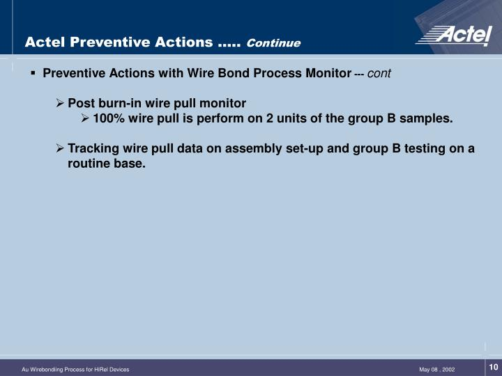 Actel Preventive Actions …..