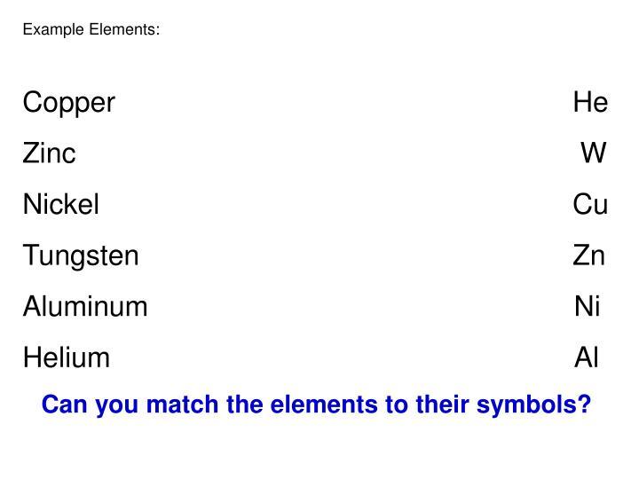 Example Elements: