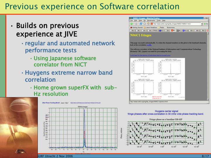 Previous experience on Software correlation
