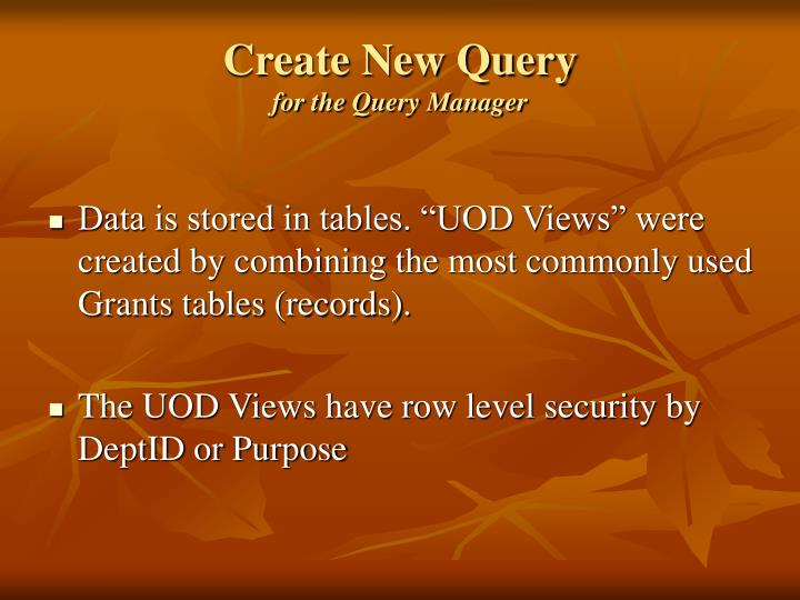 Create New Query