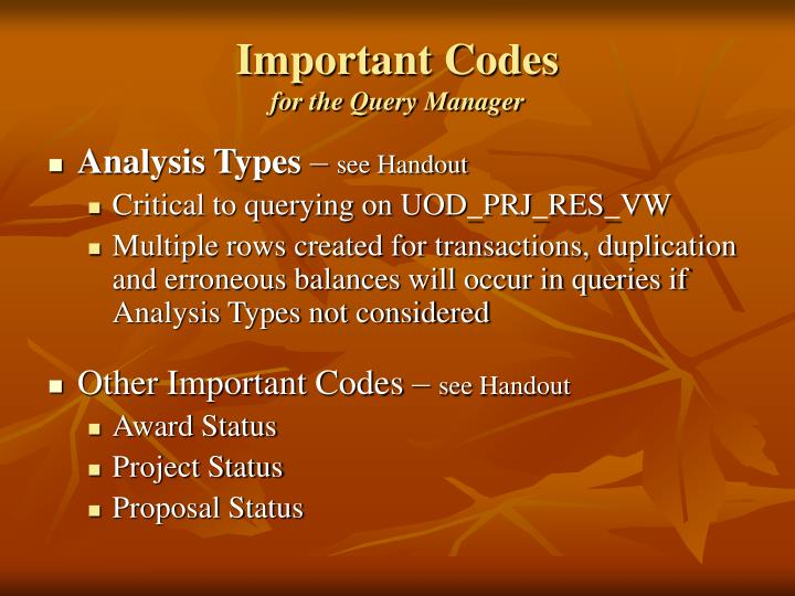 Important Codes
