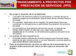 financiamiento a proyectos por prestaci n de servicios pps