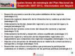 principales l neas de estrategia del plan nacional de desarrollo 2007 2012 relacionadas con nayarit