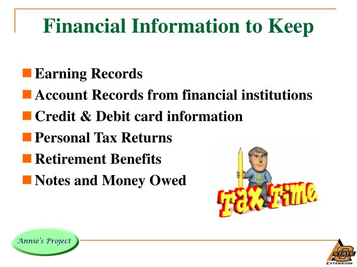 Financial Information to Keep