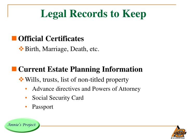 Legal Records to Keep
