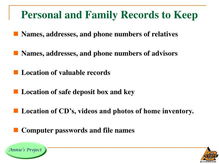 Personal and Family Records to Keep