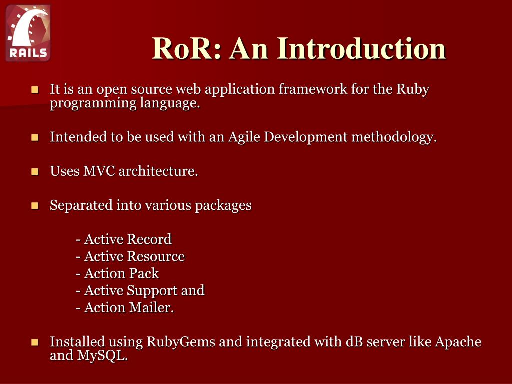 RoR: An Introduction