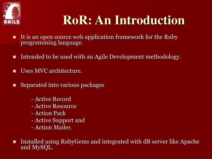 Ror an introduction