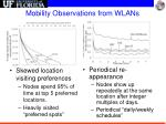 mobility observations from wlans