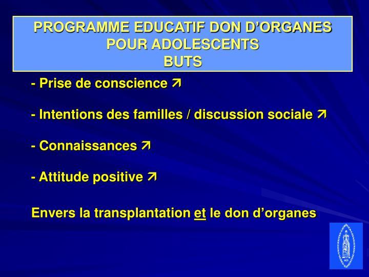 PROGRAMME EDUCATIF DON D'ORGANES POUR ADOLESCENTS