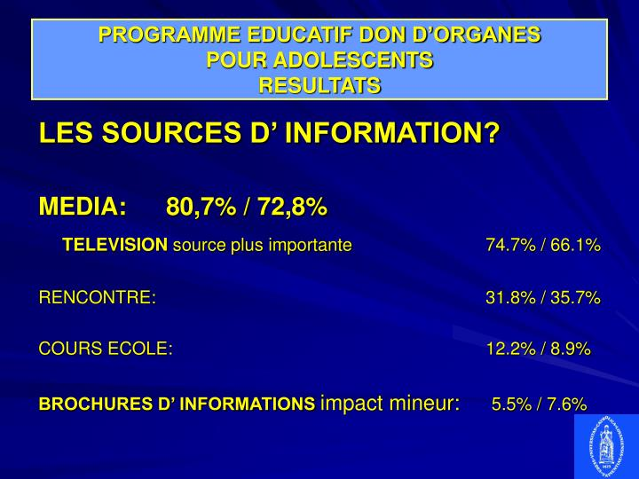 PROGRAMME EDUCATIF DON D'ORGANES