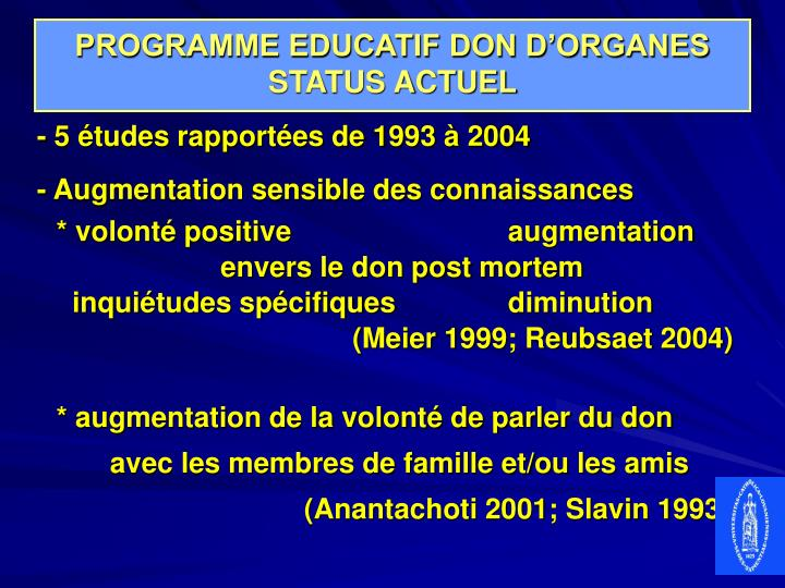Programme educatif don d organes status actuel