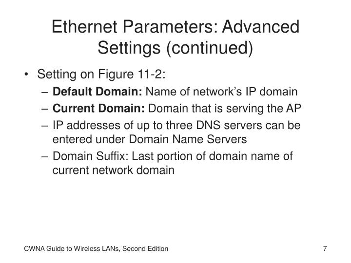 Ethernet Parameters: Advanced Settings (continued)