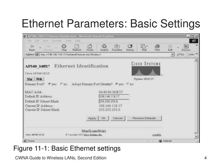 Ethernet Parameters: Basic Settings