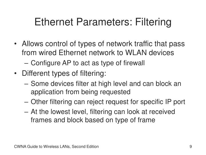 Ethernet Parameters: Filtering
