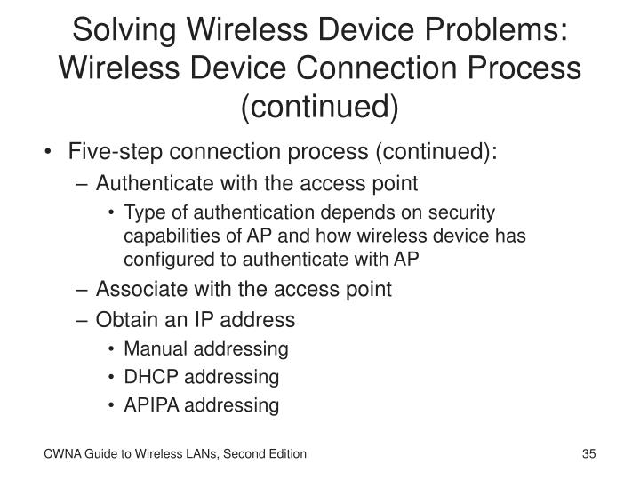 Solving Wireless Device Problems: Wireless Device Connection Process (continued)