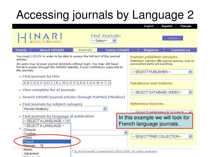 Accessing journals by Language 2