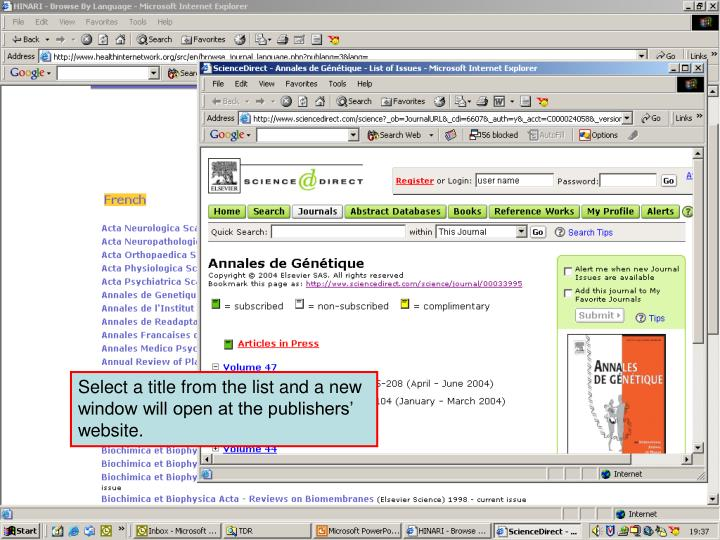 Accessing journals by Language 4