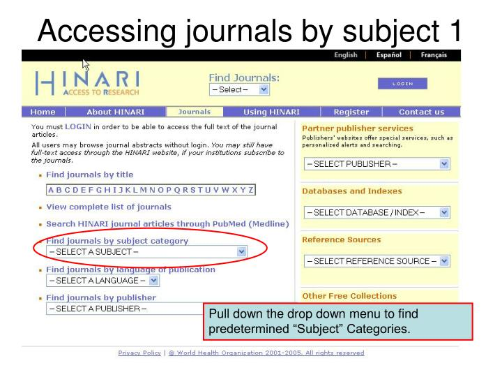 Accessing journals by subject 1
