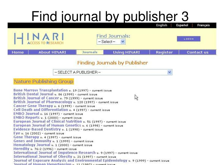 Find journal by publisher 3