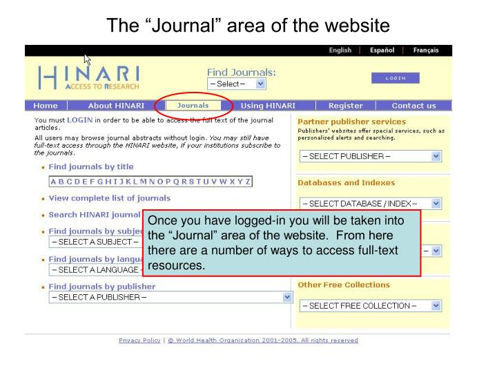 "The ""Journal"" area of the website"